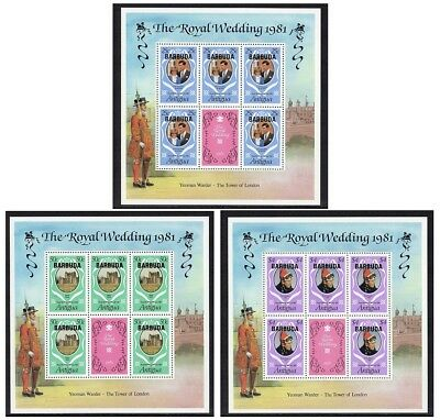 Barbuda - 1981, Royal Wedding (Charles & Diana), Set of 3 Sheetlets