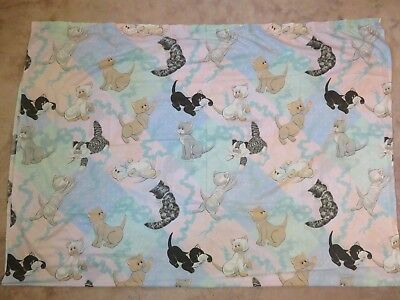 Vtg 1986 POUND PURRIES Kittens BED SHEET Top/Flat Puppies Cat 80s Purr Pink Blue