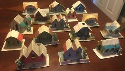 Vintage Christmas Holiday Lot 15 Mica Glitter Houses Churches Made in Japan