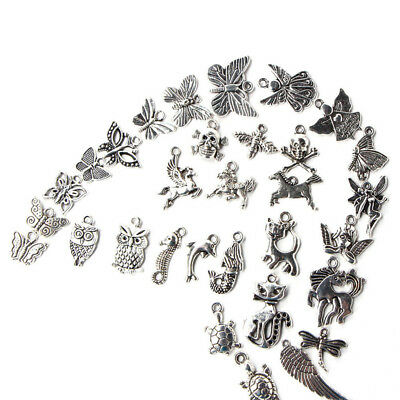 Trendy Wholesale 100pcs Bulk Lots Tibetan Silver Mix Charm Pendants Jewelry DIY