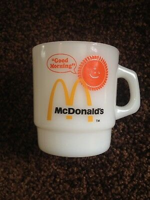 Vintage McDonalds Ovenproof Fire King Milk Glass Good Morning Coffee Mug NEW