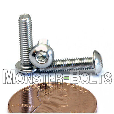 M3 - 0.50 x 12mm Stainless Steel Button Head Socket Hex Cap Screws, A2 ISO 7380
