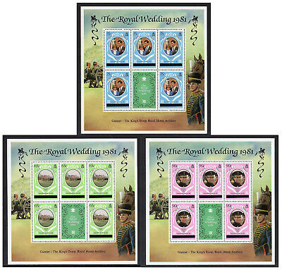 Caicos Is - 1981, Charles & Diana, Set of 3 Sheetlets (London Printing)