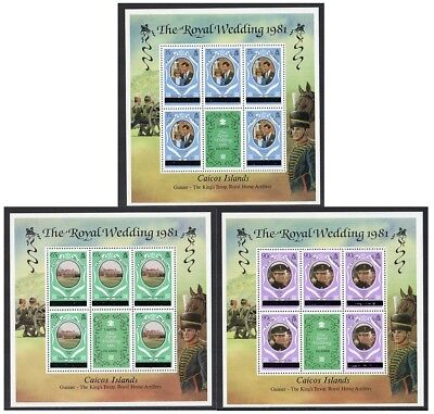Caicos Is - 1981, Charles & Diana, Set of 3 Sheetlets (New York Printing)