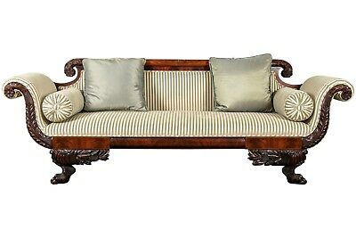 Antique Early 19th Century American Federal Sofa Flamed Mahogany Carved (87410)
