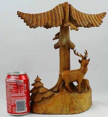 German Vintage Black Forest Wooden Diorama Deer Wood Carving very detailing