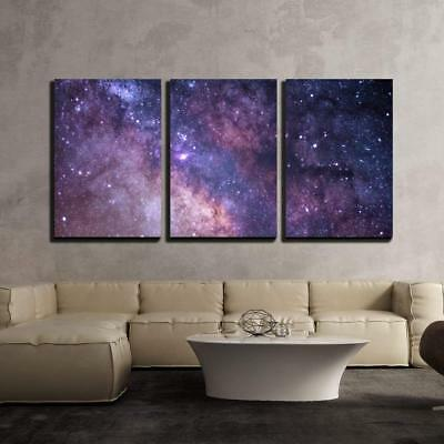 """Wall26 - Cosmos Concept in Purple - Canvas Art Wall Home Decor- 16""""x24""""x3 Panels"""