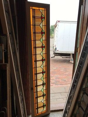 SG 2422 antique deco style stain glass transom window 14 x 75