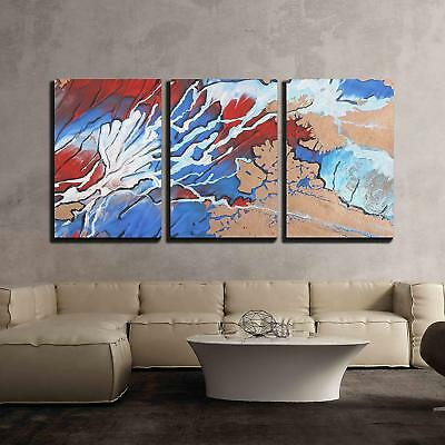 """Wall26 - Blue Red and White Abstract Brush Painting - CVS - 16""""x24""""x3 Panels"""