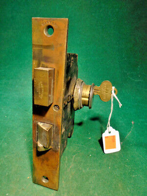 "1873 CORBIN ENTRY MORTISE LOCK w/KEY: DOUBLE CYLINDER 'HARVARD' 7 1/4"" (9430)"