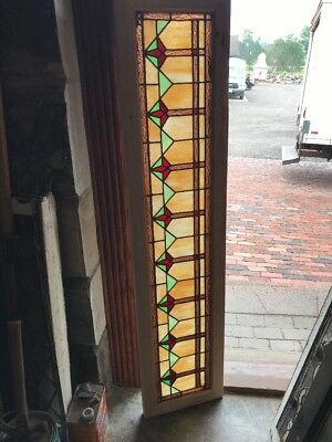 SG 2421 antique deco style stain glass transom window 14 x 61.75