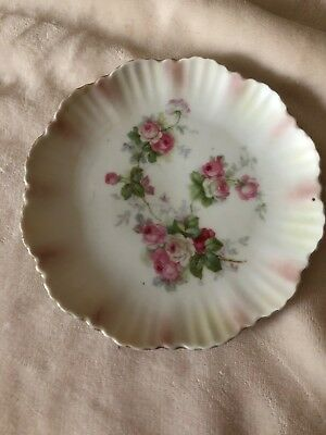 Small Scalloped Edged plate from Germany  Pink Roses