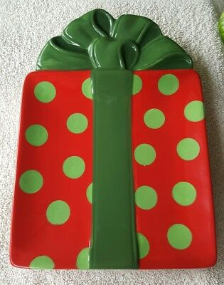 Fitz & Floyd Gourmet Kringle Christmas Snack Plate Green Dots On Red
