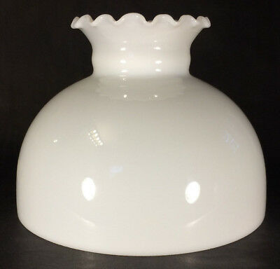 "10"" White Milk Glass Student Kerosene Oil Banquet Desk Lamp Shade with Crimp Top"