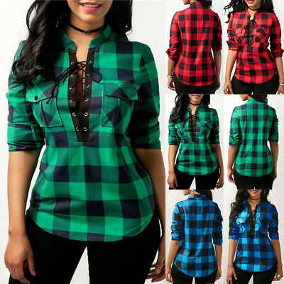 Women Lace Up Plaid Checked Casual Basic Tee T-Shirt Casual Shirts Tops Blouse