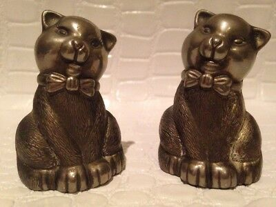 Antique Rare Silver Cat Sitting Wearing Bow Salt and Pepper Shakers