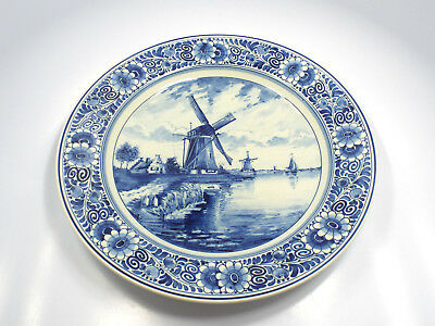 """Vintage Delfts Blauw RAM Holland Windmill Floral Hanging Wall Plate, 13"""""""