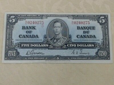 Bank of Canada 1937 Five Dollar Bill King George VI Excellent Condition