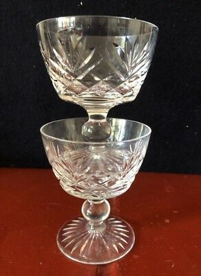 Stuart Crystal Cut Glass Wine / Sherry / Port Glasses X 2. (N)