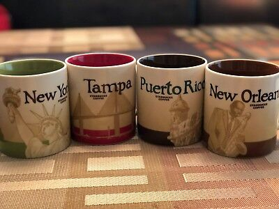 Starbucks Collectible Mugs (4) Tampa, Puerto Rico, NC & New Orleans