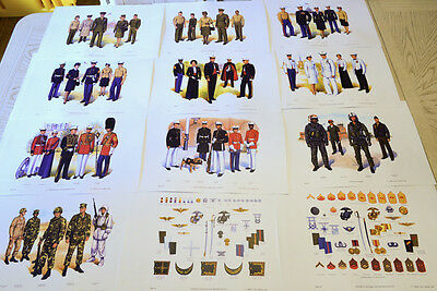 US Marine Corps USMC 1983 Officers Service Uniforms Plate 1 - 12 art print set