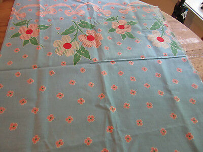 Vintage Feedsack Fabric Medium Blue W/ Red&white And Green &white Dotted Flowers