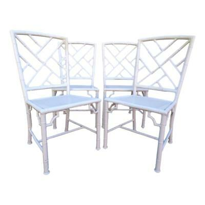 Vtg Set 4 Meadowcraft Aluminum Faux Bamboo Chinese Chippendale Fretwork Chairs