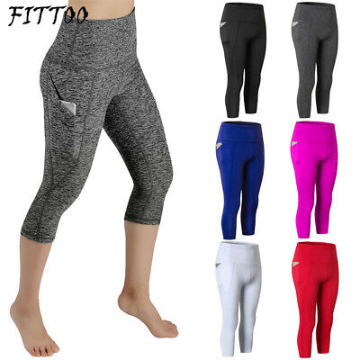 Womens Yoga Gym Cropped Pants 3/4 Leggings Ladies Running Fitness Sports Bottoms
