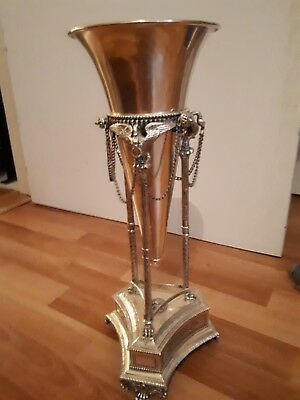 Continental Silverplate Footed Trumpet Vase, Empire Style