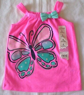 Jumping Beans 6 months Bright Pink Butterfly Sleeveless Top New