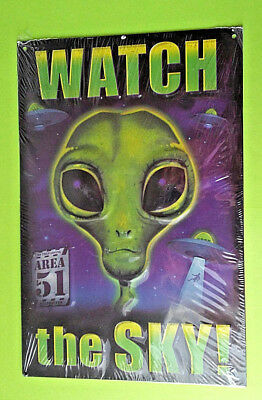 Aliens Sign UFO's  Area 51 Man Cave Wall Decor Metal Embossed Watch The Sky