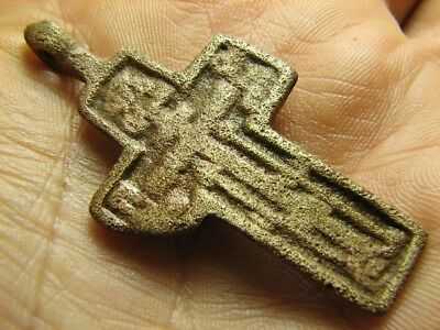 Relief. Prayer . Big Size Nice Late Medieval Bronze Cross Pendant #705