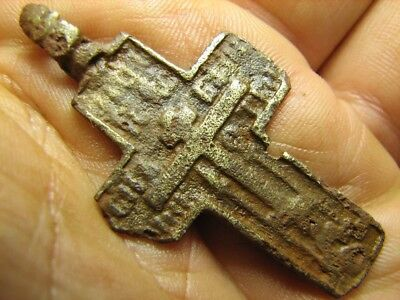 Relief. Prayer . Big Size Nice Late Medieval Bronze Cross Pendant #706