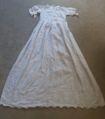 Vintage Christening Gown - White - Lace - Lovely Condition - 106cm Long -