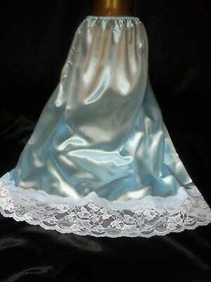 Stunning vtg silky blue satin  half slip  lace  28 to 52 waist  20/22  42 long