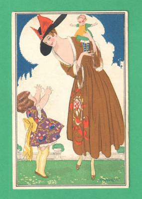 1917 Mauzan Art Postcard Fashionable Mother Holds Doll For Daughter