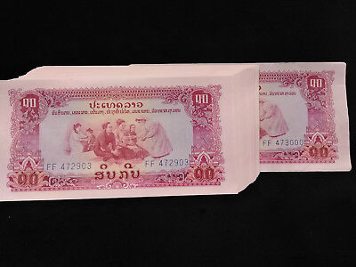 Lot of (97) SEQUENTIAL Laos 10 Kip Paper Money/ Currency UNCIRCULATED