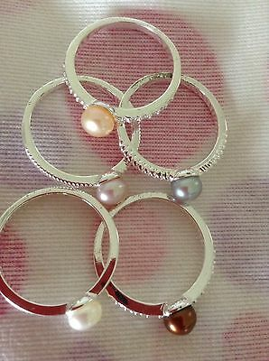 Set Of Five Silver And Pearl Stacking Rings