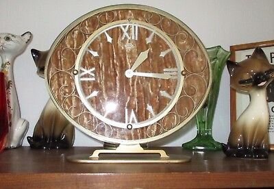 VTG RARE SMITHS SECTRIC CRUSHED VELVET BACK 50s 70s MANTEL CLOCK RETRO 60s EYE