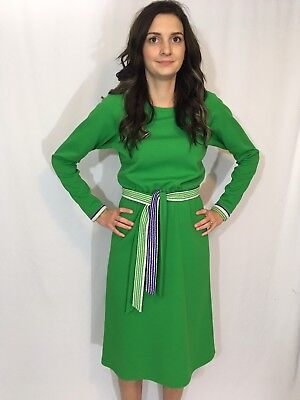 Vintage Handmade Retro Mod 1960s Belted Green Polyester Dress Long Sleeve S/M