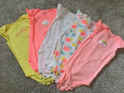 Carters Baby Girl Flutter Sleeve Bodysuits One piece Neon 9 Mos Lot Of 5 Rainbow