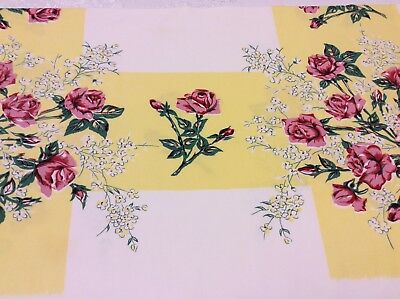 Vintage Tablecloth - Stunning Red & Pink Rose Floral On Bright Yellow Background