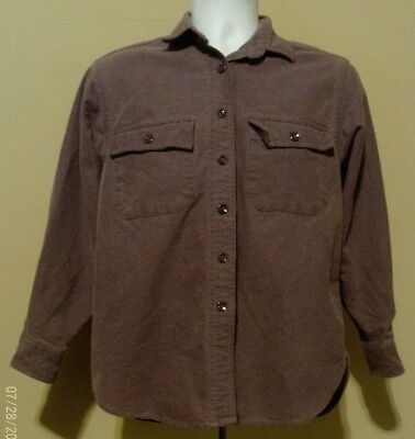 LL Bean Vintage Chamois Cloth Shirt Flannel Purple Woman's 10 USA 100% Cotton