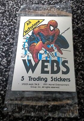 4 packs of Webs Spider-man Stickers by Comic Images Todd McFarlane art 5 per pk