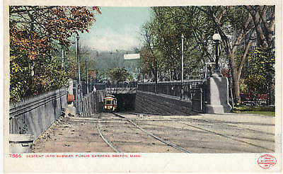 Subway Descent-Track-Trolley-Public Garden-Boston-Massachusetts-Vintage Postcard