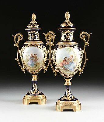 Vintage Matched Sevres Style Couple Continental Hand Painted Porcelain Vases.