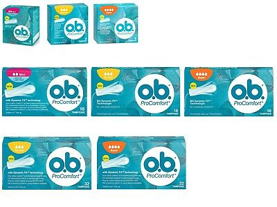 O.b. Pro Comfort Tampons- Mini, Normal Or Super, 8, 16, 32 Pcs- Choose Yours