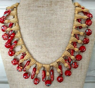 vintage signed Trifari Murano Millefiore glass necklace goldtone red rare tassel
