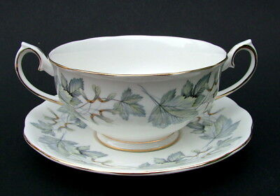 Royal Albert Silver Maple 1st Quality Soup or Dessert Bowls & Stands Look in VGC