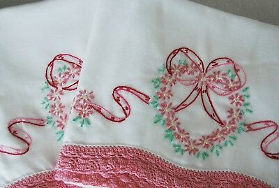 Vintage Set 2 Embroidered Crochet Pillowcases with Flowers Bows Shabby Cottage